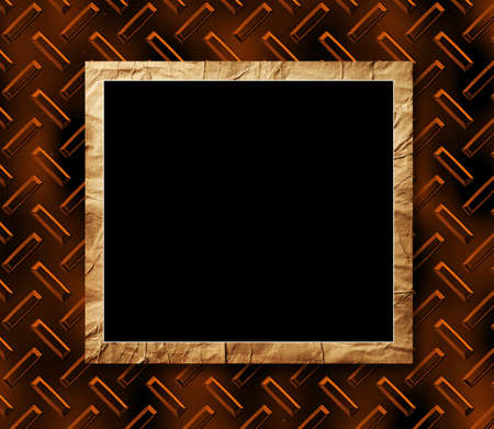 crushed: black placard with the crushed paper in a decorative scope on a brilliant metallic background Stock Photo