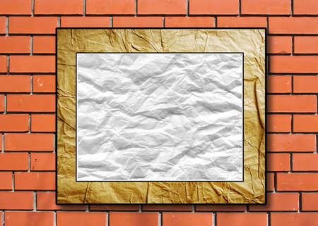 crushed: placard with the crushed paper in a decorative scope on a brick background