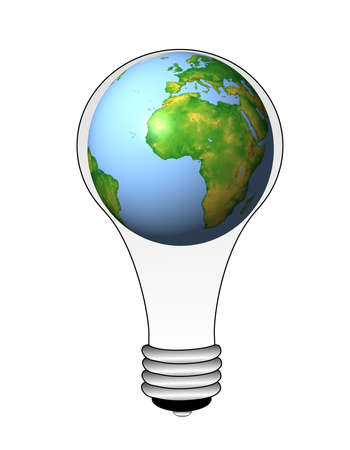 earthly: earth in an electric light bulb on a white background, illustration
