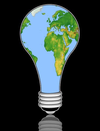 earthly: map of the world in an electric light bulb on a black background, illustration
