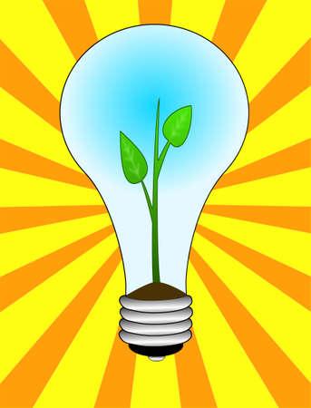 terrena: germoglio verde in una lampadina elettrica su sfondo a strisce, illustrazione