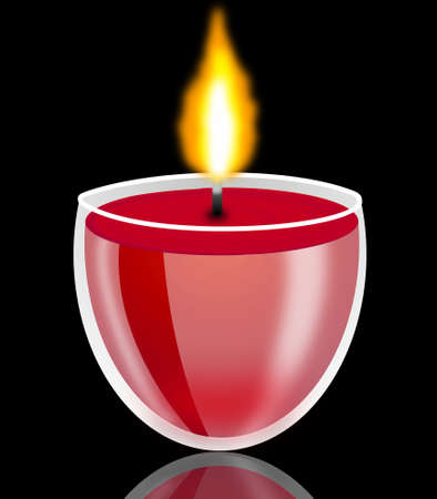 conflagrant: conflagrant decorative candle on a black background, illustration