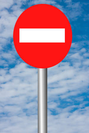 forbidding: sign-board, forbidding an entrance on a background blue sky Stock Photo