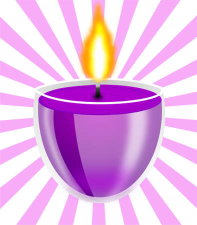 conflagrant: conflagrant decorative candle on the striped background, illustration Stock Photo