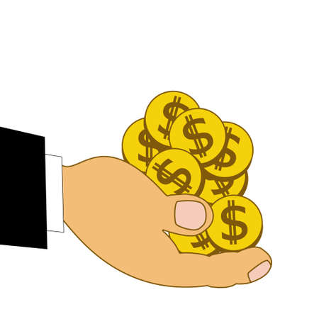 chinks: chinks dollars on a hand, illustration on a white background Stock Photo