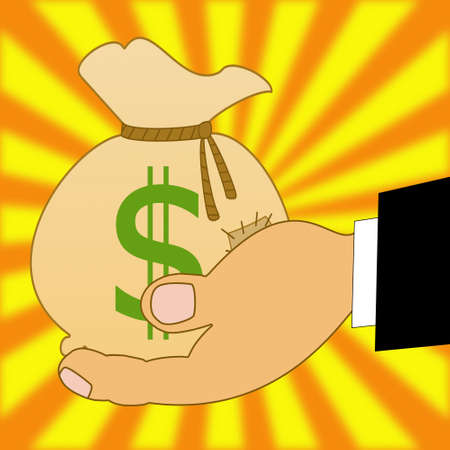 sewn up: sack with a sign dollars on a hand, illustration on a yellow-orange background