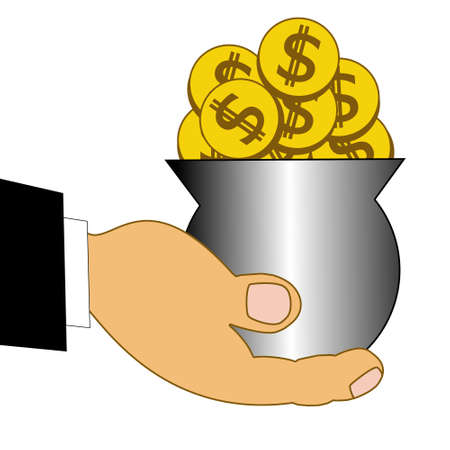 chinks: chinks dollars in a metallic pot on a hand, illustration on a white background