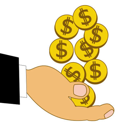 accumulations: chinks dollars on a hand, illustration on a white background Stock Photo