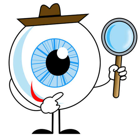 flowed: human eye in hat with magnifying glass in hands, illustration on a white background