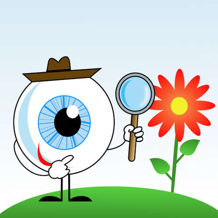 human eye in hat with magnifying glass in hands, illustration on a white background illustration