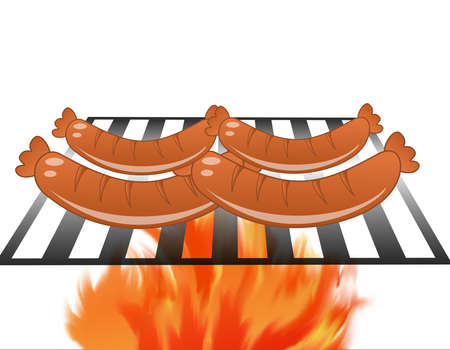 coals: four sausages broil on a grill on a white background,illustration a raster