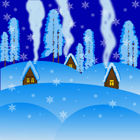 flue: winter beautiful rural landscape at night,illustration a raster