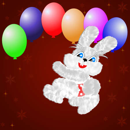 claret: fluffy hare with  balloons on a claret background,illustration a raster