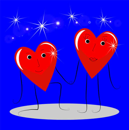 two bright red falling in love of heart on a blue background, vectorial illustration Vector