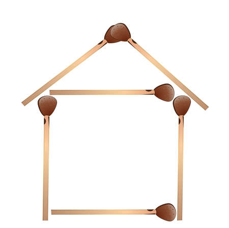 house from matches on a white background, vectorial illustration