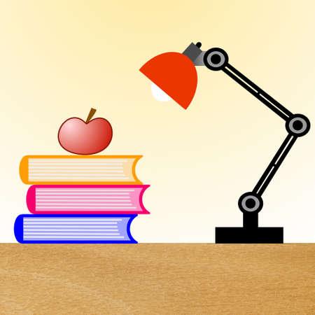 lezen-lamp, drie boeken en appel op een tafel, illustratie Stockfoto