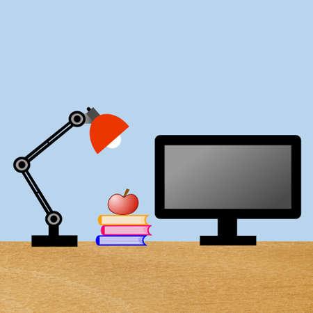 reading-lamp, computer, drie boeken en appel op een tafel, illustratie