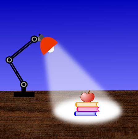 leeslamp, drie boeken en appel op een tafel, illustratie