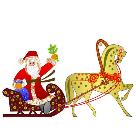 hoofs: Santa claus with the sack of gifts in sledges in a team with a horse on a white background