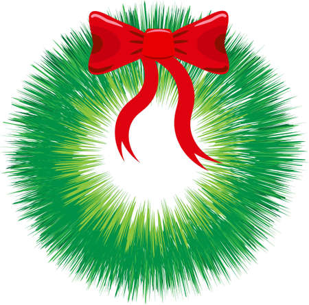 chaplet: festive green chaplet with a red bow on a white background, vectorial illustration