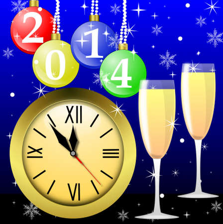 clock,glasses with champagne and new-year marbles with the numbers of coming year, illustration illustration