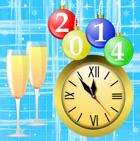 newyear: clock,glasses with champagne and new-year marbles with the numbers of coming year, illustration
