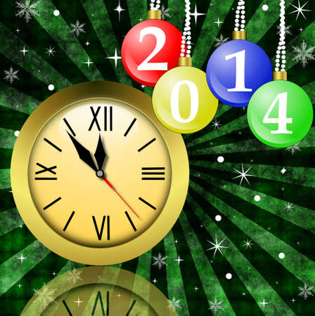 newyear: clock and new-year marbles with the numbers of coming year, illustration