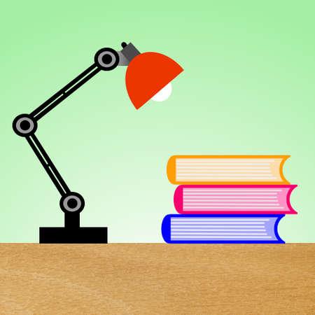 leeslamp en drie boeken op een tafel, illustratie