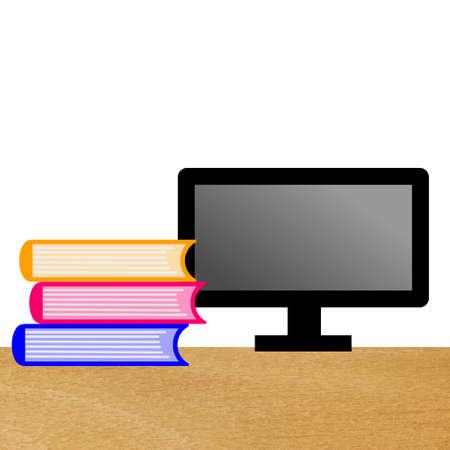 computer en drie boeken op een tafel, illustratie