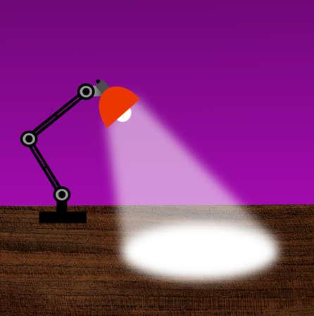 reading-lamp met de lichtstraal op een tafel, illustratie
