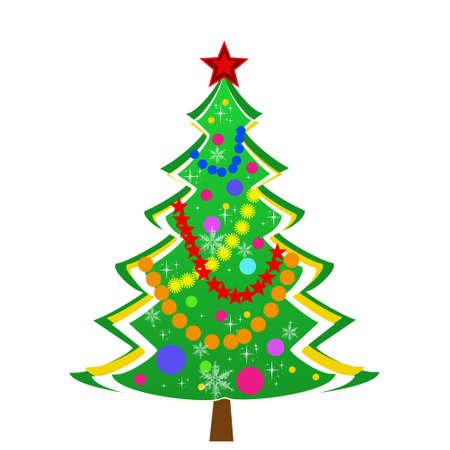 newyear: beautiful new-year tree on a white background, illustration Stock Photo