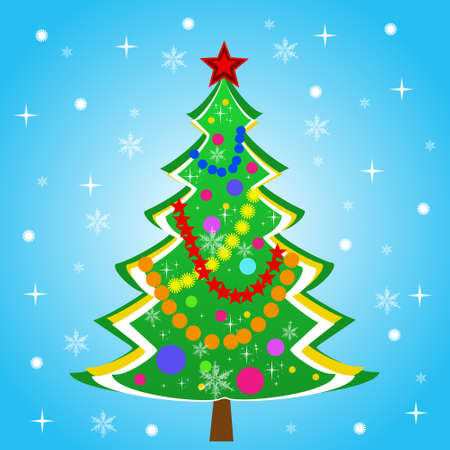 newyear: beautiful new-year tree on a blue background, illustration Stock Photo