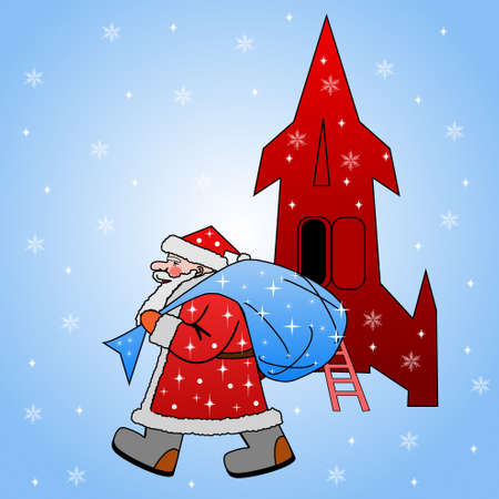 Santa claus with the sack of gifts went out from a rocket on a blue background photo