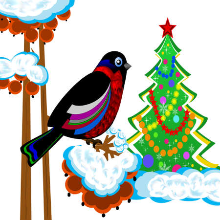 a bird is a bullfinch on the tree of wild ash and new-year tree, illustration illustration