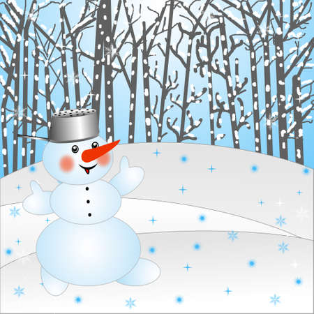 snow man on a background winter landscape,illustration illustration