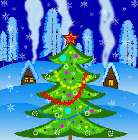 newyear: new-year tree on a background winter landscape,illustration Stock Photo