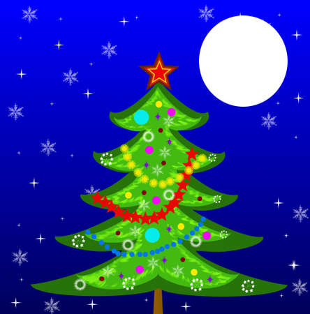 newyear: new-year tree on a background star sky,illustration