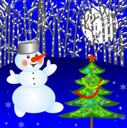 new-year tree and snow man on a background winter landscape,illustration illustration