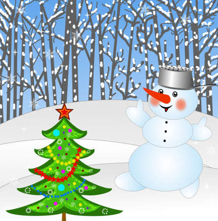 newyear: new-year tree and snow man on a background winter landscape,illustration