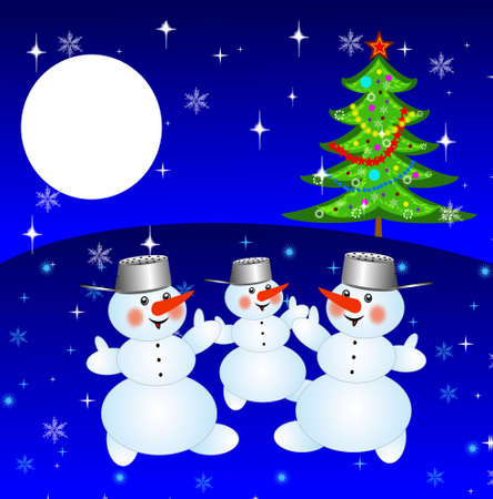 newyear: new-year tree and and three snow men on a background winter landscape,illustration