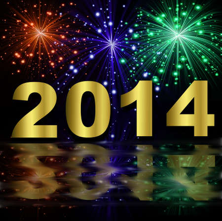 numbers of coming year 2014 on a background a bright banger,illustration