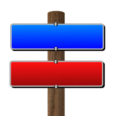 wooden post: red and blue table on a wooden post, illustration Stock Photo