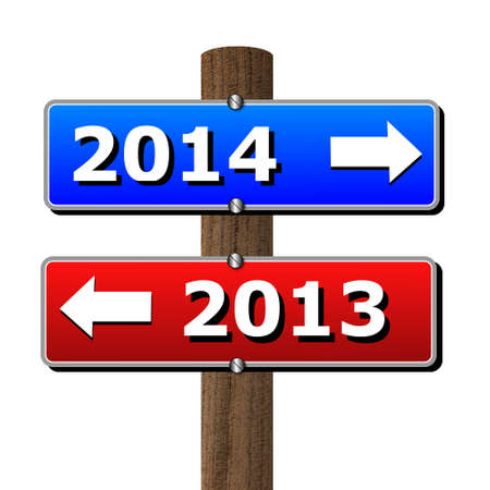 wooden post: red and blue tables with the symbols of leaving and coming year on a wooden post, illustration Stock Photo