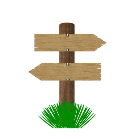 wooden post: two wooden tables  on  a post, illustration