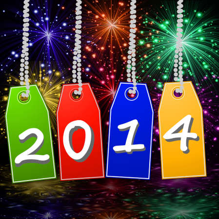 banger: bright  price-lists with the symbols of coming year on a beautiful background, illustration Stock Photo