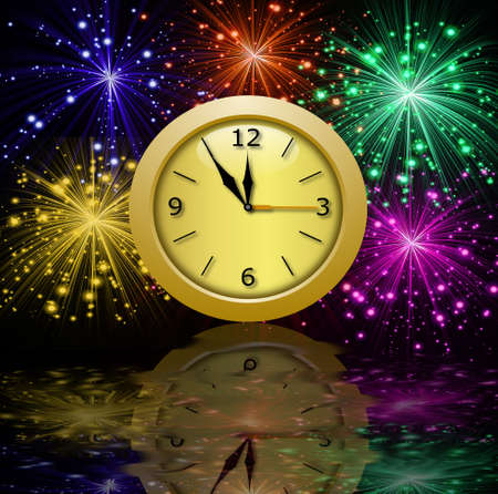 banger: round beautiful clock on a background a bright banger with a reflection, illustration