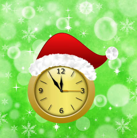 newyear: round clock with a new-year cap, illustration