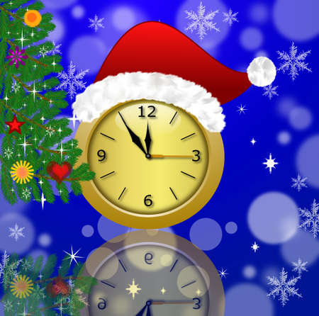 newyear: clock with a new-year cap and fir-tree decorated, illustration Stock Photo