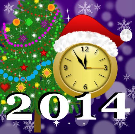 clock with a new-year cap, by a fir-tree decorated and symbols of coming year, illustration illustration