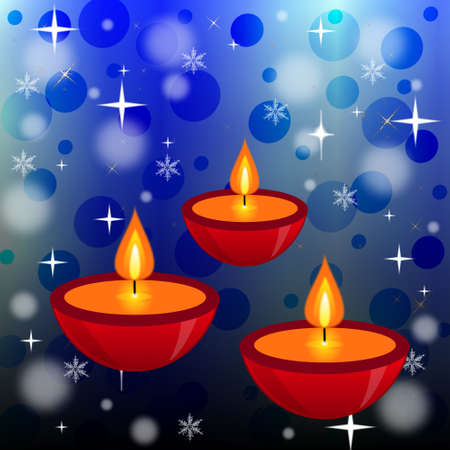 three bright beautiful candlesticks on an abstract background, illustration